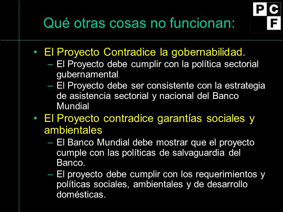 Qué otras cosas no funcionan: El Proyecto Contradice la gobernabilidad.