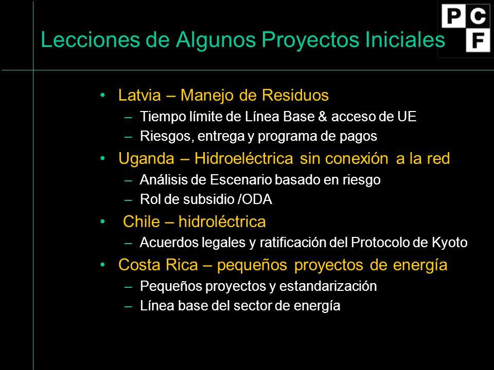 Lecciones de Algunos Proyectos Iniciales Latvia – Manejo de Residuos –Tiempo límite de Línea Base & acceso de UE –Riesgos, entrega y programa de pagos Uganda – Hidroeléctrica sin conexión a la red –Análisis de Escenario basado en riesgo –Rol de subsidio /ODA Chile – hidroléctrica –Acuerdos legales y ratificación del Protocolo de Kyoto Costa Rica – pequeños proyectos de energía –Pequeños proyectos y estandarización –Línea base del sector de energía