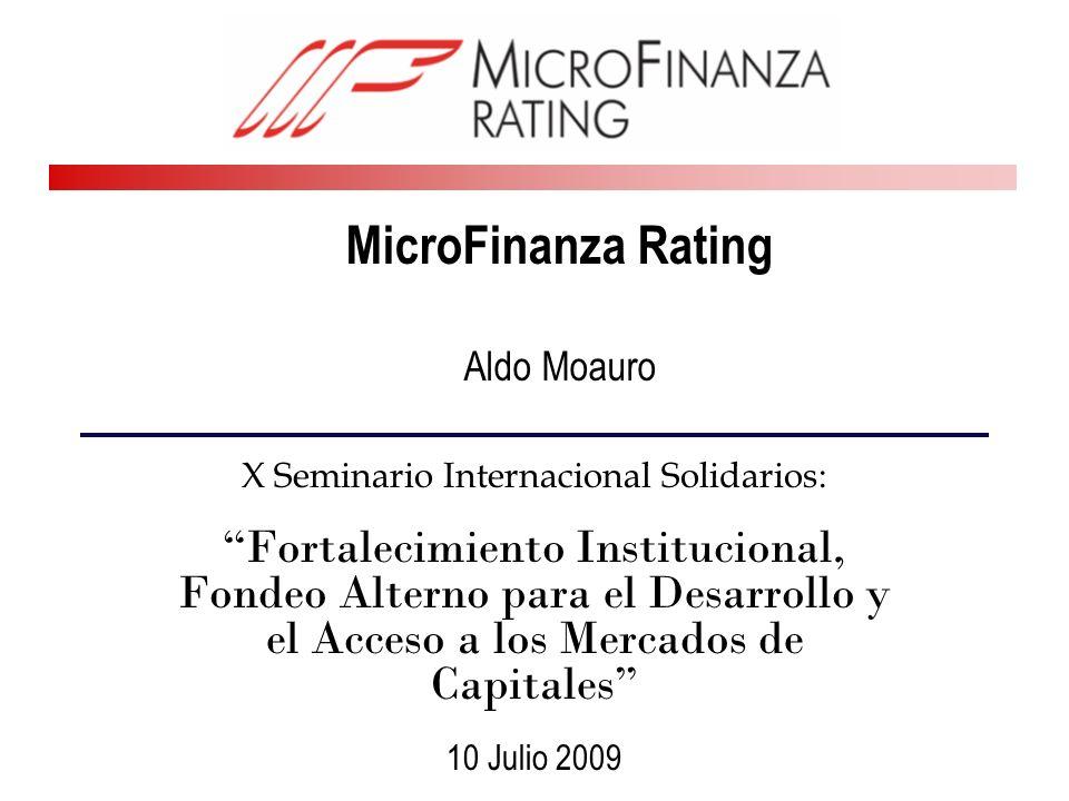 2 MicroFinanza Rating Agencia de rating privada e independiente especializada en microfinanzas y financiamiento rural Agencia de rating registrada en el Fondo de Calificación de Instituciones Financieras del BID/CAF y en el Fondo ADA Trabajando al momento en América Latina, África, Asia, Rusia y los Caucazos, Europa Oriental y los Balcanes y la región MENA (Mediterráneo).