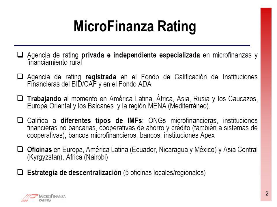 2 MicroFinanza Rating Agencia de rating privada e independiente especializada en microfinanzas y financiamiento rural Agencia de rating registrada en