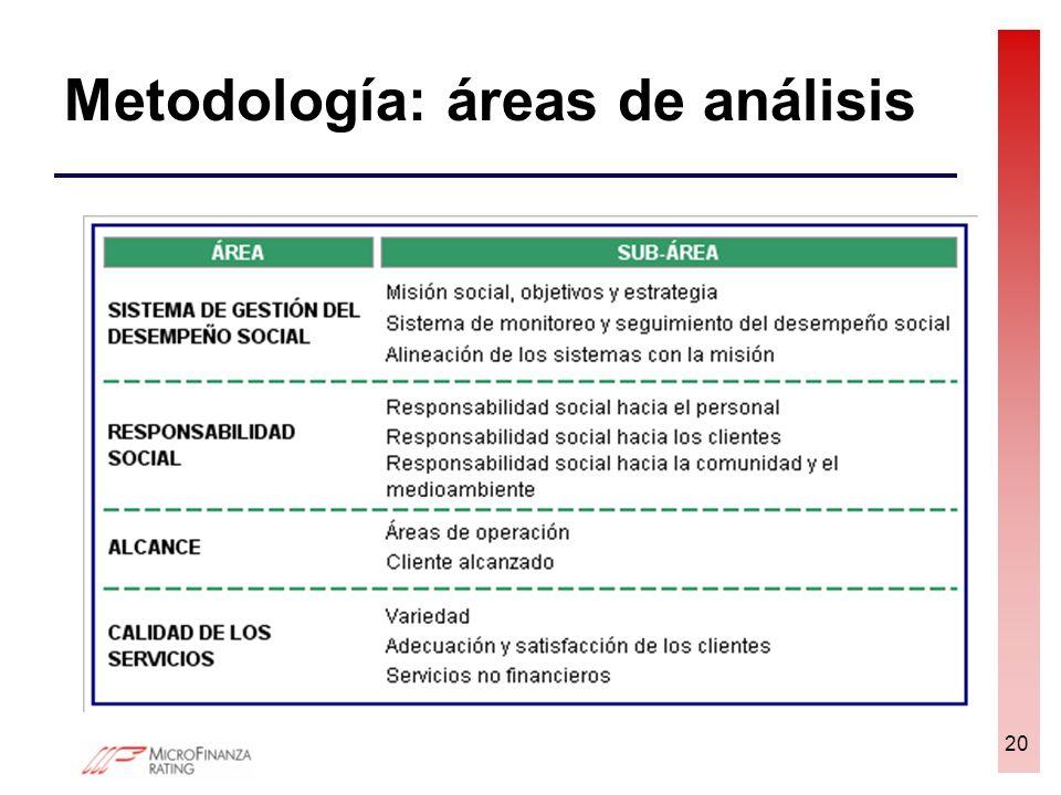 Metodología: áreas de análisis 20