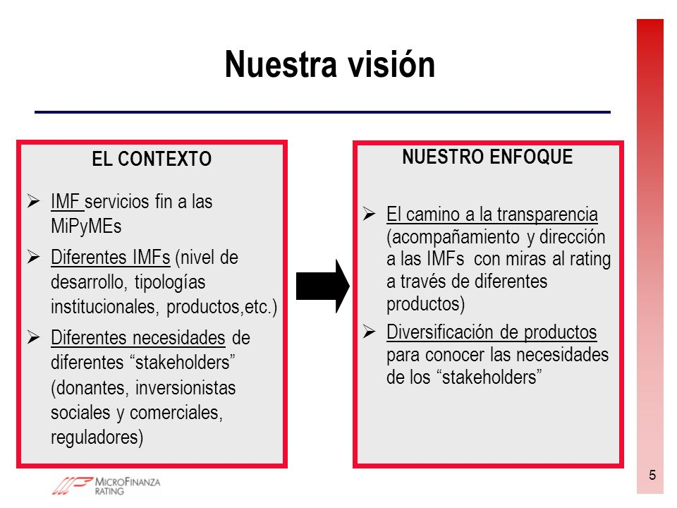 5 Nuestra visión EL CONTEXTO IMF servicios fin a las MiPyMEs Diferentes IMFs (nivel de desarrollo, tipologías institucionales, productos,etc.) Diferen