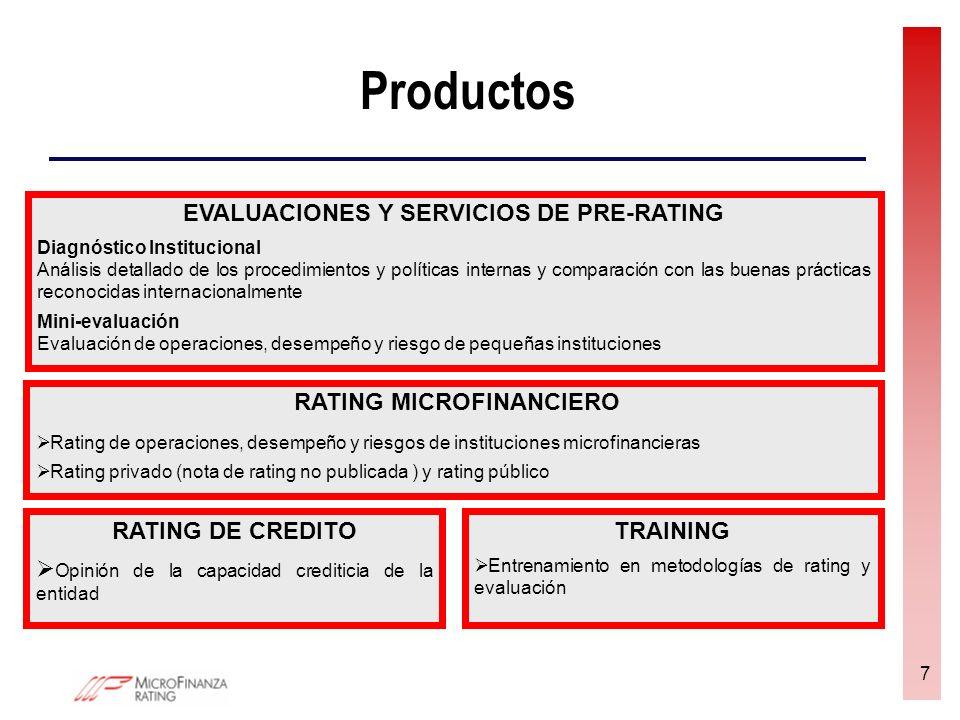 8 Productos (2) RATING DE DESEMPEÑO SOCIAL (RDS) Evaluación de la capacidad de la IMF para trasladar su misión a la práctica y para alcanzar sus objetivos sociales 2 productos ofertados: con encuesta (incluyendo encuesta al cliente y metodología de grupos focales) y sin encuesta SERVICIOS PARA INVERSIONISTAS Informe País (Country Screening): análisis del sector microfinanciero de una Región/país y producción de perfiles de IMFs de este país (indicadores básicos) Informe de inversión asesorada Perfil de las operaciones y riesgos de instituciones microfinancieras para apoyar decisiones de inversión Monitoreo de IMFs Monitoreo regular del desempeño de las IMFs con actualizaciones in-situ o a distancia Servicios personalizados Búsqueda específica o auditorias de áreas de riesgo de la IMF (p.e.