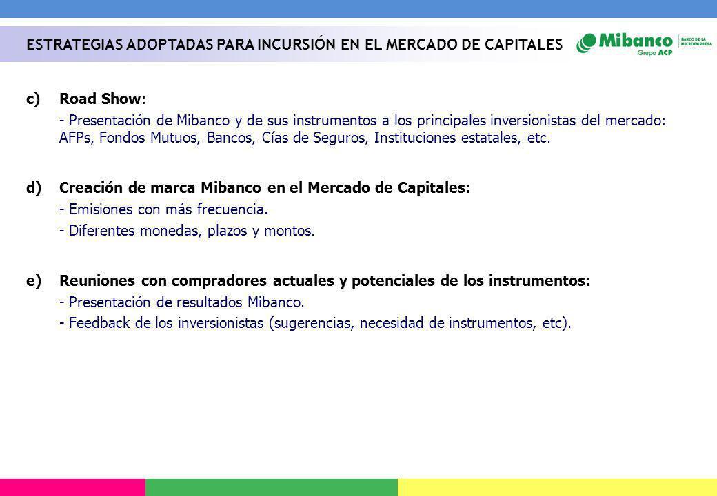 c)Road Show: - Presentación de Mibanco y de sus instrumentos a los principales inversionistas del mercado: AFPs, Fondos Mutuos, Bancos, Cías de Seguro