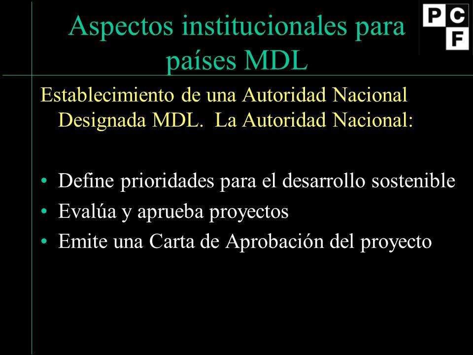 Aspectos institucionales para países MDL Establecimiento de una Autoridad Nacional Designada MDL. La Autoridad Nacional: Define prioridades para el de
