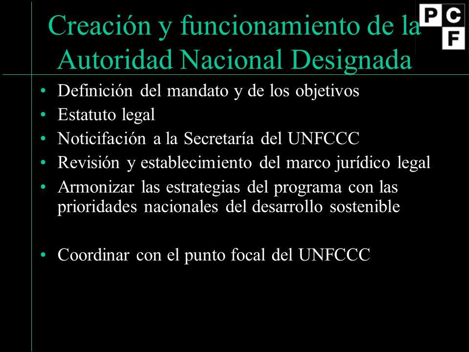 Creación y funcionamiento de la Autoridad Nacional Designada Definición del mandato y de los objetivos Estatuto legal Noticifación a la Secretaría del UNFCCC Revisión y establecimiento del marco jurídico legal Armonizar las estrategias del programa con las prioridades nacionales del desarrollo sostenible Coordinar con el punto focal del UNFCCC