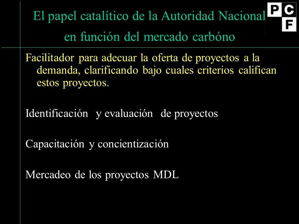 El papel catalítico de la Autoridad Nacional en función del mercado carbóno Facilitador para adecuar la oferta de proyectos a la demanda, clarificando bajo cuales criterios califican estos proyectos.