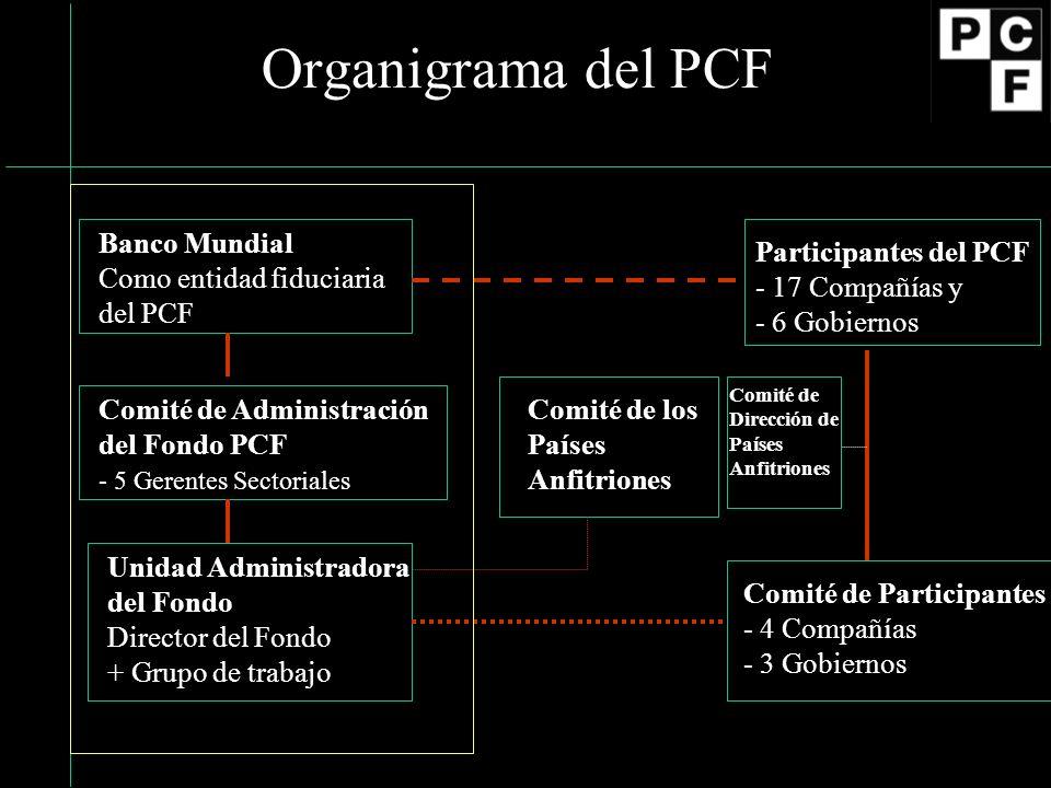Organigrama del PCF Banco Mundial Como entidad fiduciaria del PCF Participantes del PCF - 17 Compañías y - 6 Gobiernos Comité de Administración del Fondo PCF - 5 Gerentes Sectoriales Unidad Administradora del Fondo Director del Fondo + Grupo de trabajo Comité de Participantes - 4 Compañías - 3 Gobiernos Comité de los Países Anfitriones Comité de Dirección de Países Anfitriones