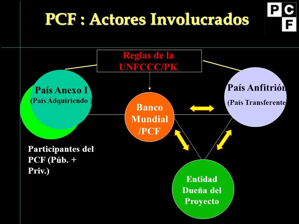 Banco Mundial /PCF Reglas de la UNFCCC/PK País Anfitrión (País Transferente) Entidad Dueña del Proyecto PCF : Actores Involucrados País Anexo I (País