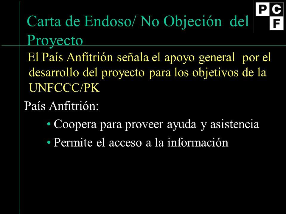 16 Carta de Endoso/ No Objeción del Proyecto El País Anfitrión señala el apoyo general por el desarrollo del proyecto para los objetivos de la UNFCCC/PK País Anfitrión: Coopera para proveer ayuda y asistencia Permite el acceso a la información