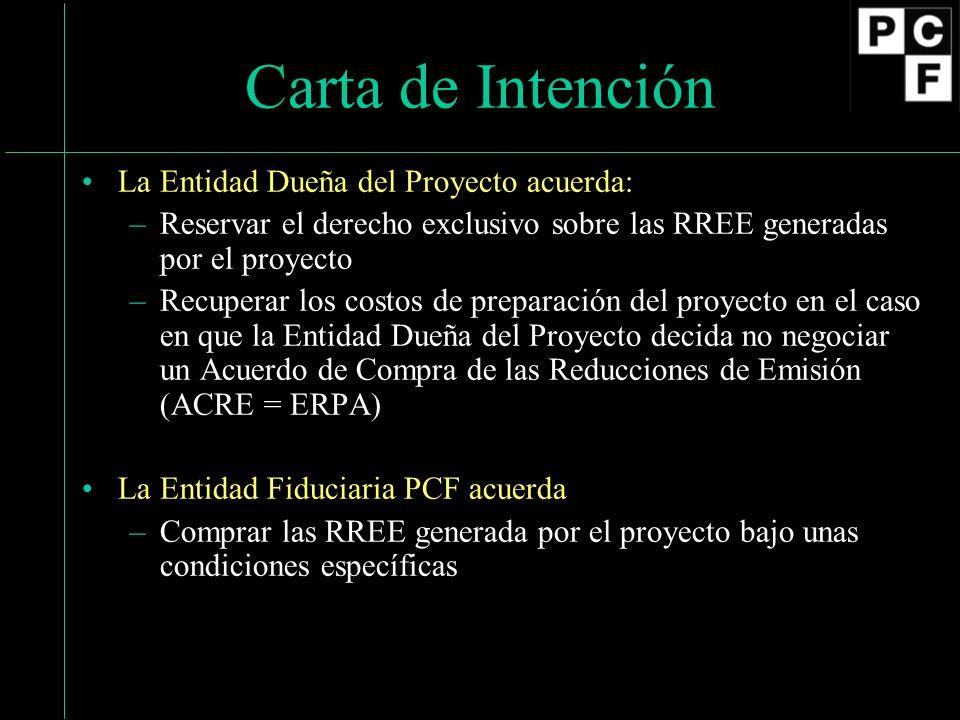 Carta de Intención La Entidad Dueña del Proyecto acuerda: –Reservar el derecho exclusivo sobre las RREE generadas por el proyecto –Recuperar los costo