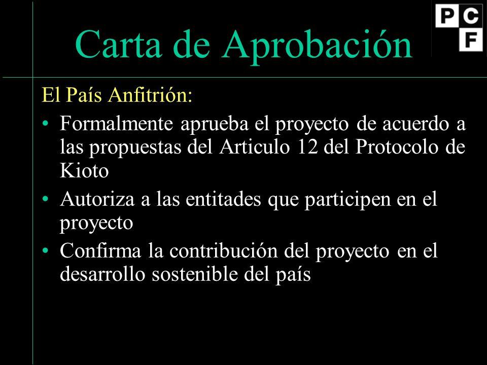 Carta de Aprobación El País Anfitrión: Formalmente aprueba el proyecto de acuerdo a las propuestas del Articulo 12 del Protocolo de Kioto Autoriza a las entitades que participen en el proyecto Confirma la contribución del proyecto en el desarrollo sostenible del país