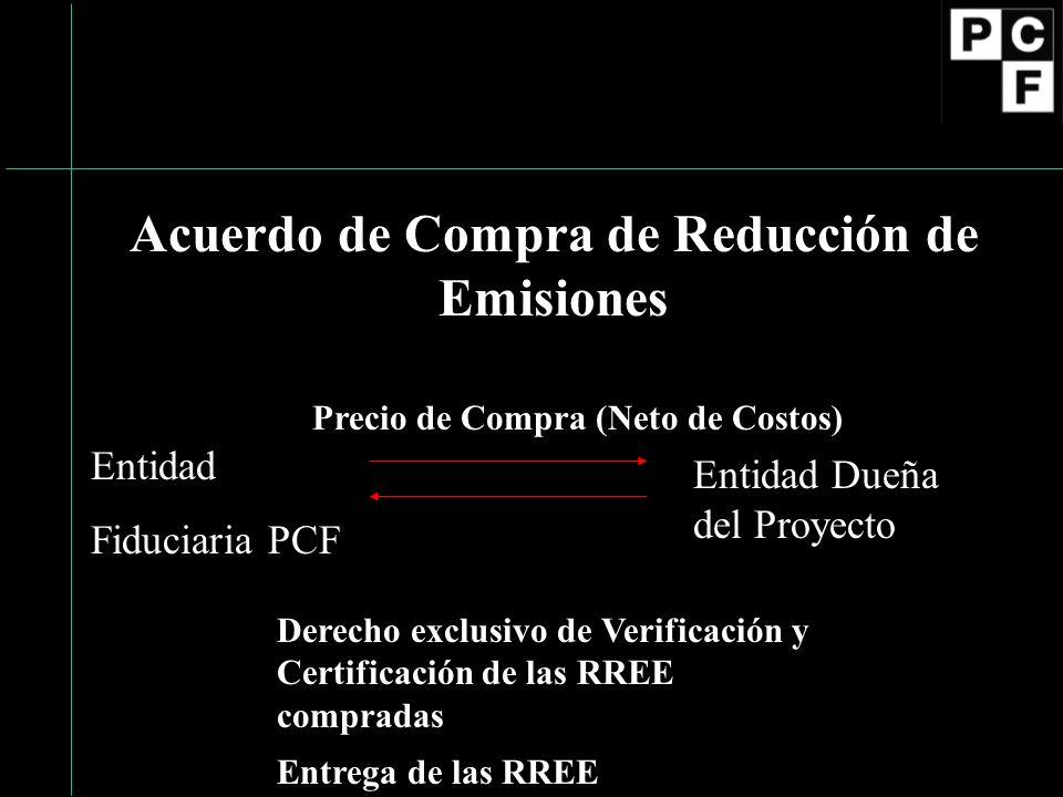 Acuerdo de Compra de Reducción de Emisiones Entidad Fiduciaria PCF Entidad Dueña del Proyecto Precio de Compra (Neto de Costos) Derecho exclusivo de Verificación y Certificación de las RREE compradas Entrega de las RREE
