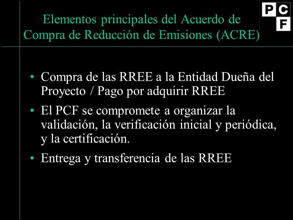 Elementos principales del Acuerdo de Compra de Reducción de Emisiones (ACRE) Compra de las RREE a la Entidad Dueña del Proyecto / Pago por adquirir RREE El PCF se compromete a organizar la validación, la verificación inicial y periódica, y la certificación.