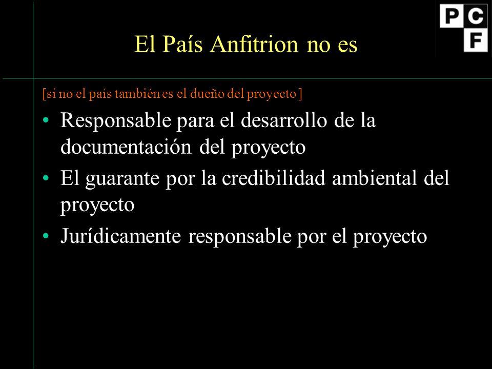 El País Anfitrion no es [si no el país también es el dueño del proyecto ] Responsable para el desarrollo de la documentación del proyecto El guarante