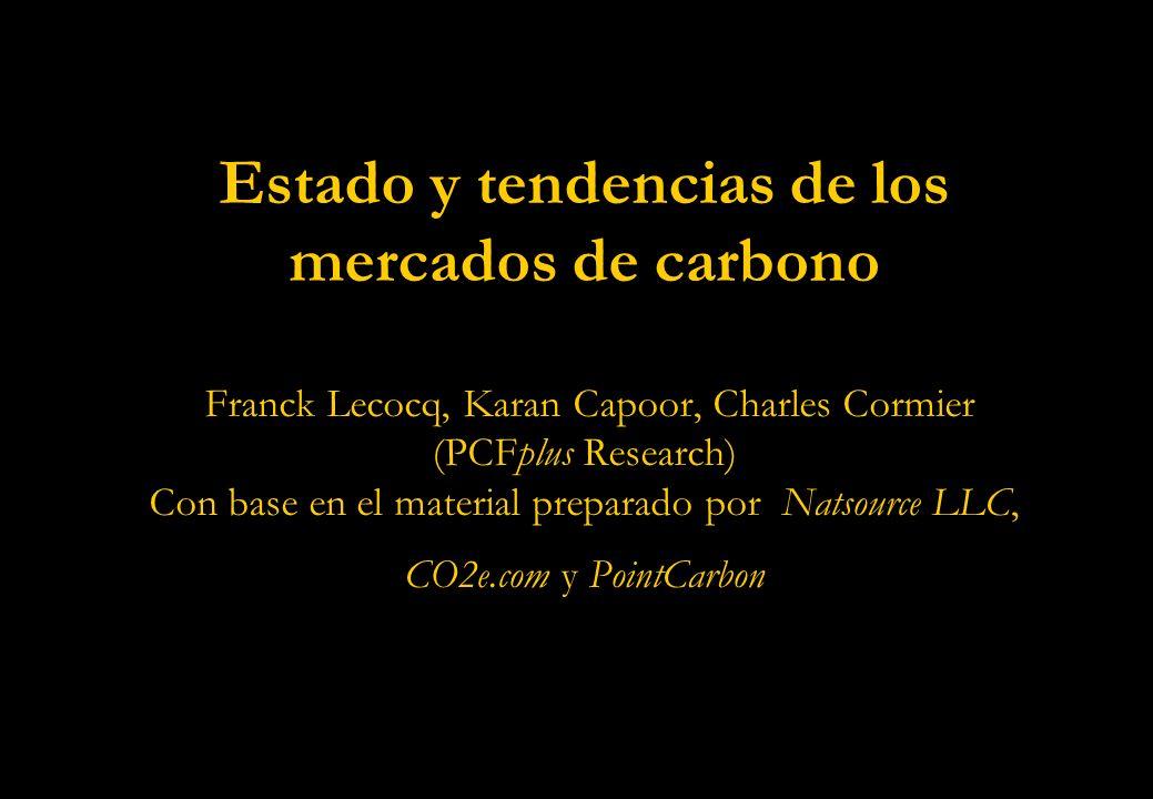 Estado y tendencias de los mercados de carbono Franck Lecocq, Karan Capoor, Charles Cormier (PCFplus Research) Con base en el material preparado por Natsource LLC, CO2e.com y PointCarbon