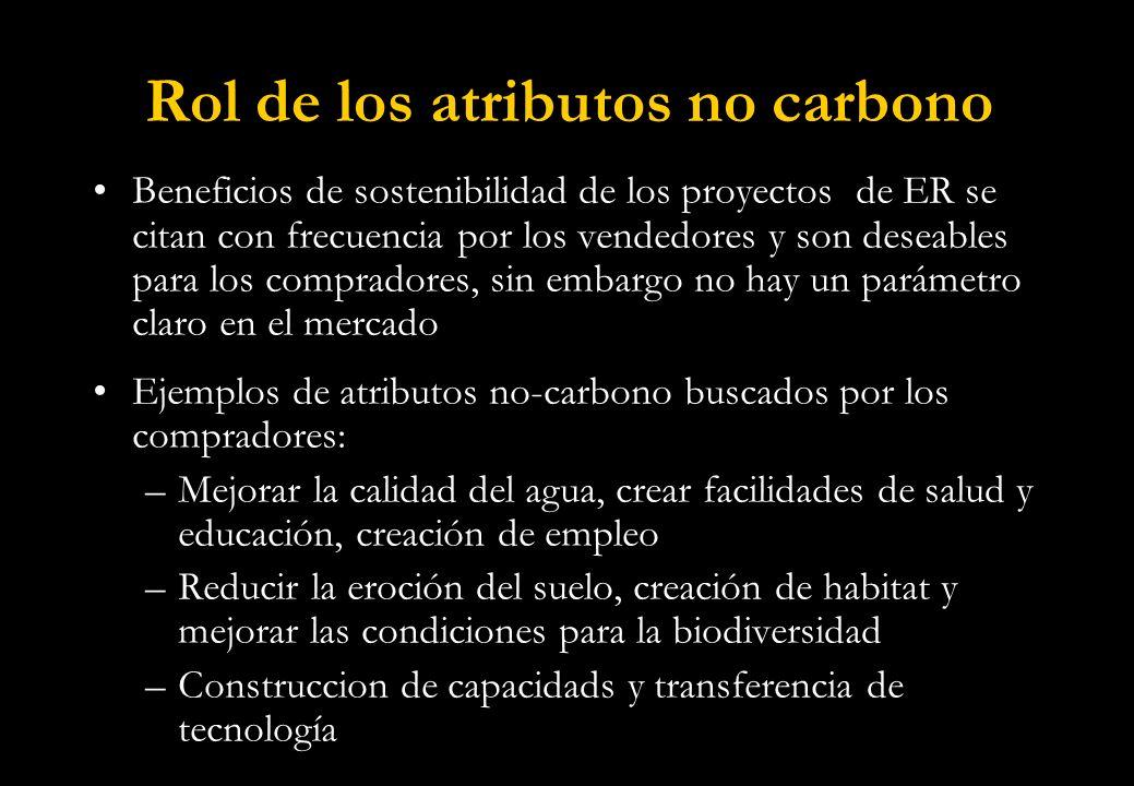 Rol de los atributos no carbono Beneficios de sostenibilidad de los proyectos de ER se citan con frecuencia por los vendedores y son deseables para los compradores, sin embargo no hay un parámetro claro en el mercado Ejemplos de atributos no-carbono buscados por los compradores: –Mejorar la calidad del agua, crear facilidades de salud y educación, creación de empleo –Reducir la eroción del suelo, creación de habitat y mejorar las condiciones para la biodiversidad –Construccion de capacidads y transferencia de tecnología