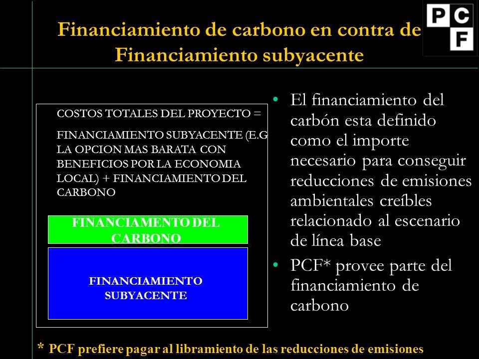Financiamiento de carbono en contra de Financiamiento subyacente El financiamiento del carbón esta definido como el importe necesario para conseguir reducciones de emisiones ambientales creíbles relacionado al escenario de línea base PCF* provee parte del financiamiento de carbono * PCF prefiere pagar al libramiento de las reducciones de emisiones COSTOS TOTALES DEL PROYECTO = FINANCIAMIENTO SUBYACENTE (E.G LA OPCION MAS BARATA CON BENEFICIOS POR LA ECONOMIA LOCAL) + FINANCIAMIENTO DEL CARBONO FINANCIAMENTO DEL CARBONO FINANCIAMIENTO SUBYACENTE
