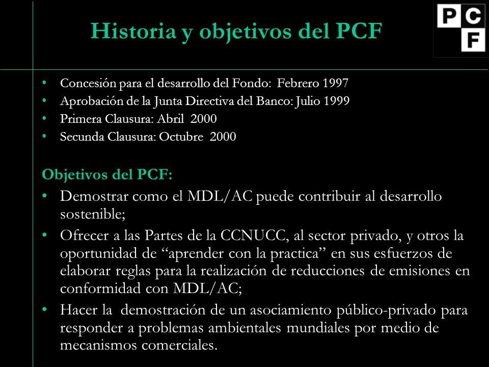 Historia y objetivos del PCF Concesión para el desarrollo del Fondo: Febrero 1997 Aprobación de la Junta Directiva del Banco: Julio 1999 Primera Claus