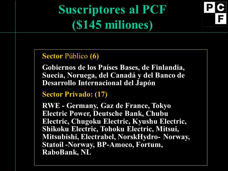 Sector Público (6) Gobiernos de los Países Bases, de Finlandia, Suecia, Noruega, del Canadá y del Banco de Desarrollo Internacional del Japón Sector Privado: (17) RWE - Germany, Gaz de France, Tokyo Electric Power, Deutsche Bank, Chubu Electric, Chugoku Electric, Kyushu Electric, Shikoku Electric, Tohoku Electric, Mitsui, Mitsubishi, Electrabel, NorskHydro- Norway, Statoil -Norway, BP-Amoco, Fortum, RaboBank, NL Suscriptores al PCF ($145 miliones)