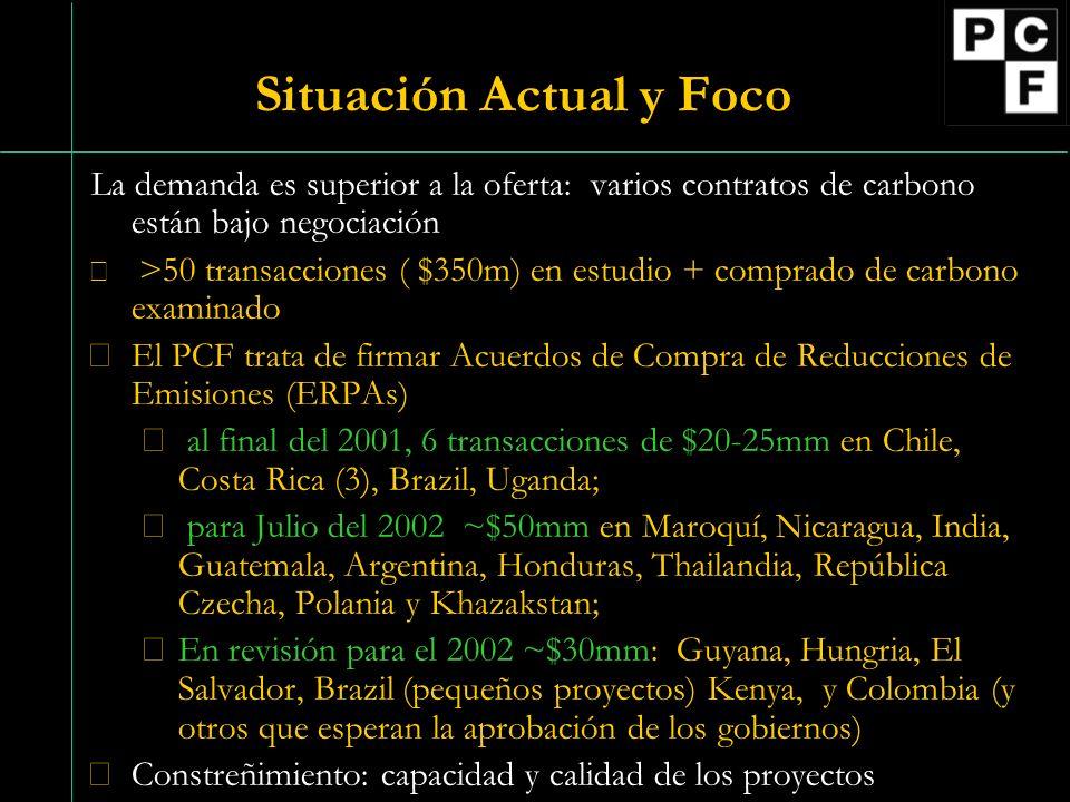 Situación Actual y Foco La demanda es superior a la oferta: varios contratos de carbono están bajo negociación  >50 transacciones ( $350m) en estudio + comprado de carbono examinado El PCF trata de firmar Acuerdos de Compra de Reducciones de Emisiones (ERPAs)  al final del 2001, 6 transacciones de $20-25mm en Chile, Costa Rica (3), Brazil, Uganda;  para Julio del 2002 ~$50mm en Maroquí, Nicaragua, India, Guatemala, Argentina, Honduras, Thailandia, República Czecha, Polania y Khazakstan; En revisión para el 2002 ~$30mm: Guyana, Hungria, El Salvador, Brazil (pequeños proyectos) Kenya, y Colombia (y otros que esperan la aprobación de los gobiernos) Constreñimiento: capacidad y calidad de los proyectos
