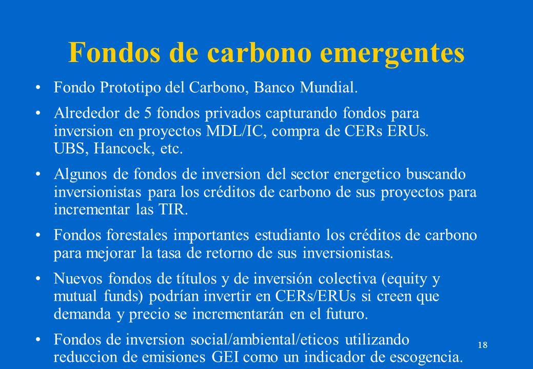 18 Fondos de carbono emergentes Fondo Prototipo del Carbono, Banco Mundial. Alrededor de 5 fondos privados capturando fondos para inversion en proyect