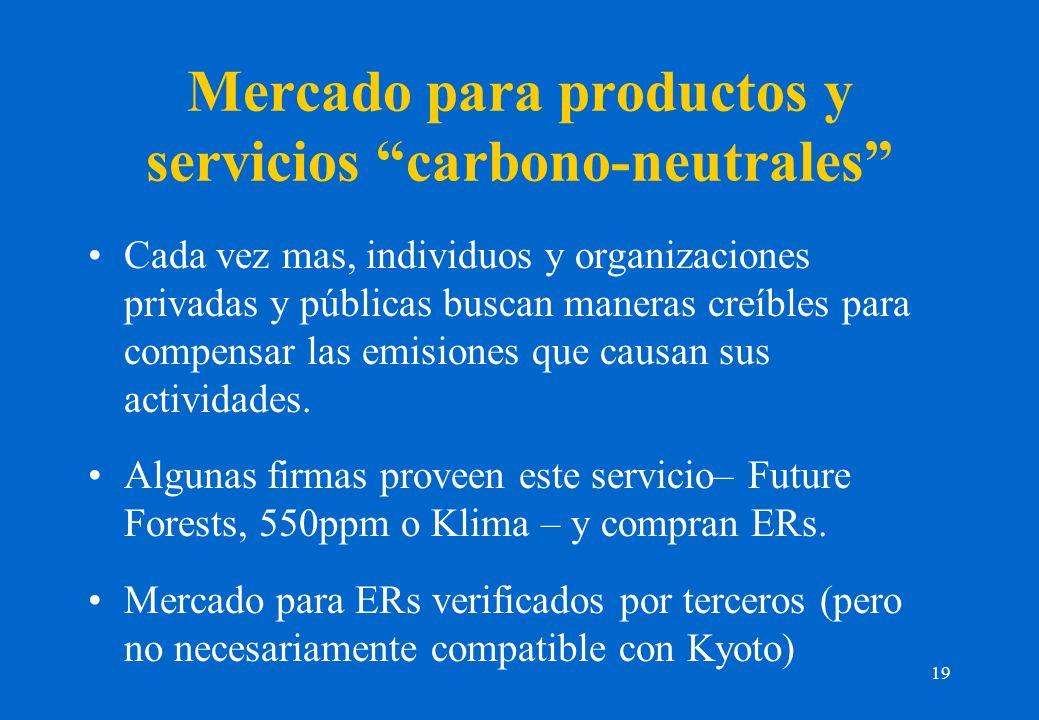 19 Mercado para productos y servicios carbono-neutrales Cada vez mas, individuos y organizaciones privadas y públicas buscan maneras creíbles para compensar las emisiones que causan sus actividades.