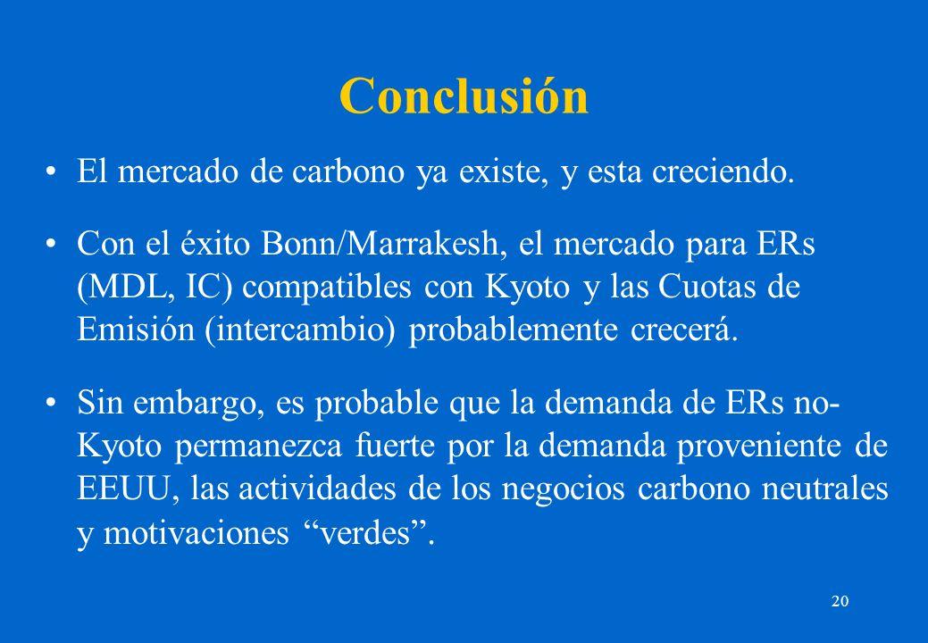 20 Conclusión El mercado de carbono ya existe, y esta creciendo. Con el éxito Bonn/Marrakesh, el mercado para ERs (MDL, IC) compatibles con Kyoto y la