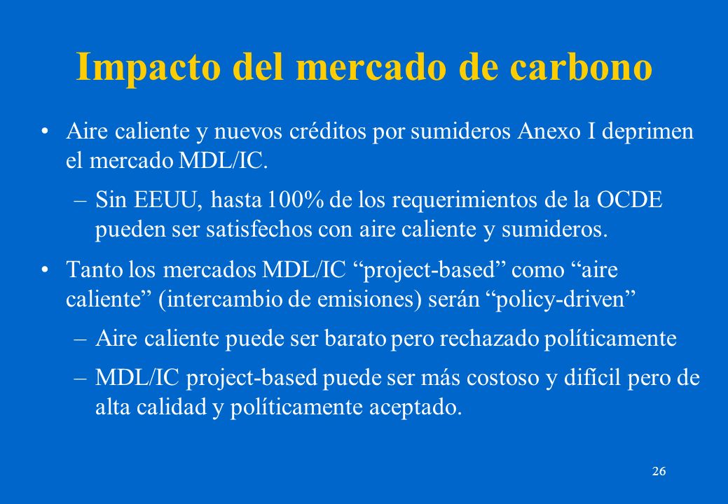 26 Impacto del mercado de carbono Aire caliente y nuevos créditos por sumideros Anexo I deprimen el mercado MDL/IC. –Sin EEUU, hasta 100% de los reque