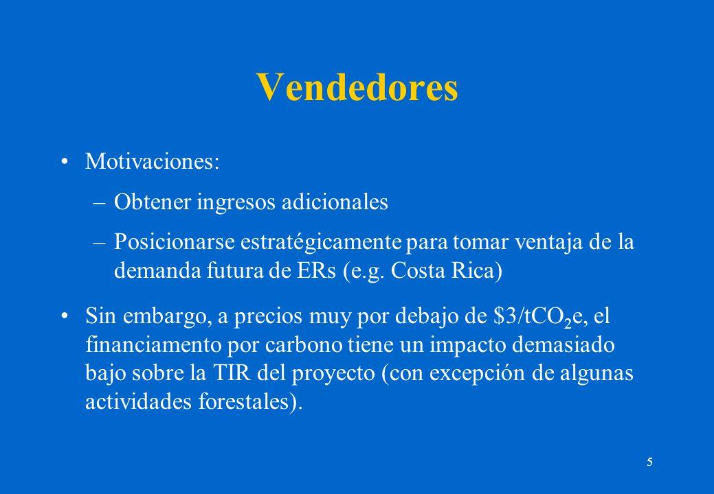 5 Vendedores Motivaciones: –Obtener ingresos adicionales –Posicionarse estratégicamente para tomar ventaja de la demanda futura de ERs (e.g. Costa Ric