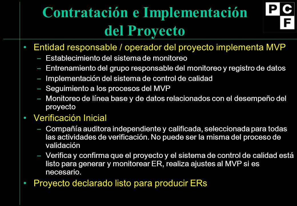 Contratación e Implementación del Proyecto Entidad responsable / operador del proyecto implementa MVP –Establecimiento del sistema de monitoreo –Entre
