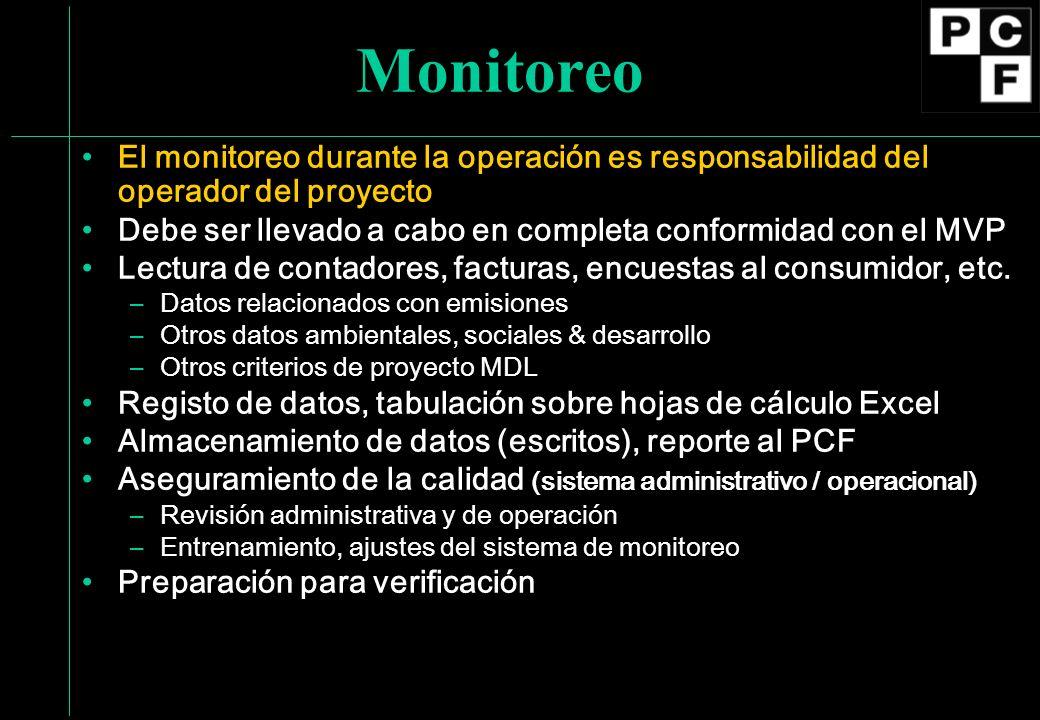 Monitoreo El monitoreo durante la operación es responsabilidad del operador del proyecto Debe ser llevado a cabo en completa conformidad con el MVP Lectura de contadores, facturas, encuestas al consumidor, etc.