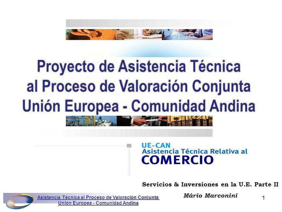 Asistencia Técnica al Proceso de Valoración Conjunta Unión Europea - Comunidad Andina Marconini2 1.Reglas internacionales para la inversión 2.Leyes de la UE y la IDE 3.Compromisos multilaterales 4.Acuerdos de la UE con Terceros Contenido Asistencia Técnica al Proceso de Valoración Conjunta Unión Europea - Comunidad Andina