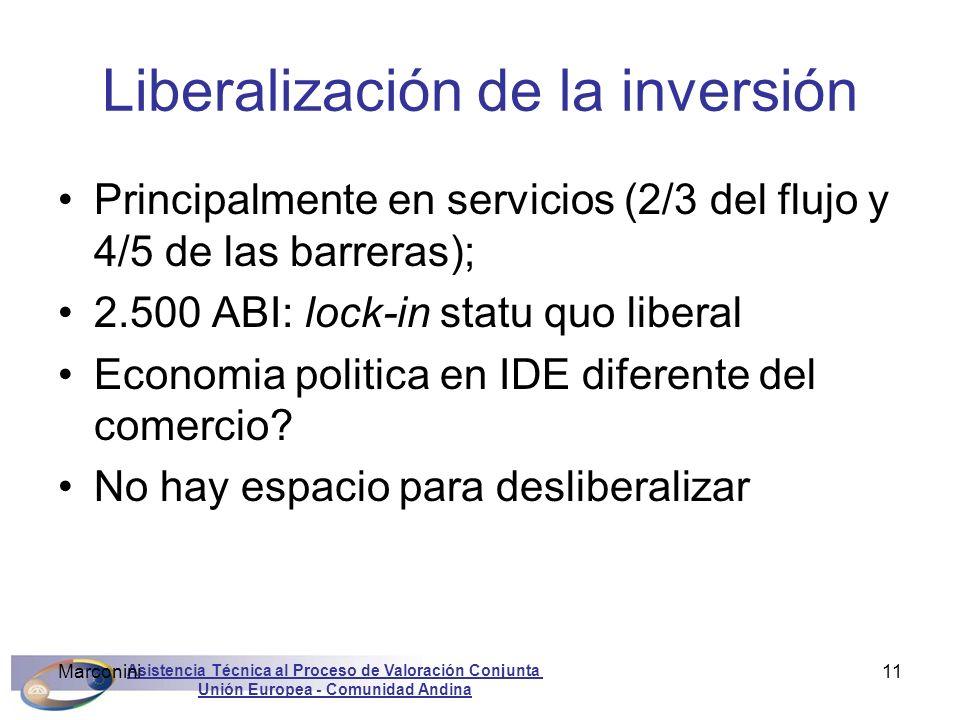 Asistencia Técnica al Proceso de Valoración Conjunta Unión Europea - Comunidad Andina Marconini11 Liberalización de la inversión Principalmente en ser