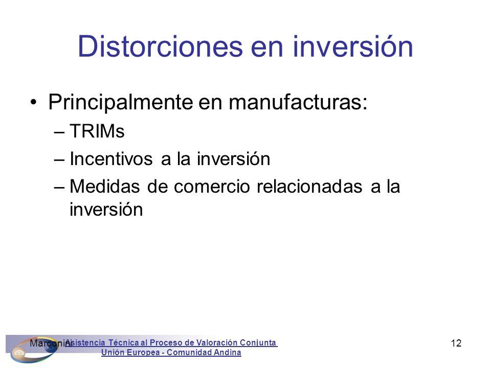 Asistencia Técnica al Proceso de Valoración Conjunta Unión Europea - Comunidad Andina Marconini12 Distorciones en inversión Principalmente en manufact