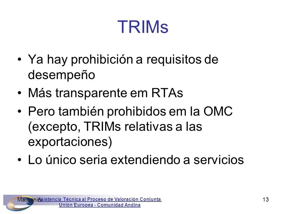 Asistencia Técnica al Proceso de Valoración Conjunta Unión Europea - Comunidad Andina Marconini13 TRIMs Ya hay prohibición a requisitos de desempeño M