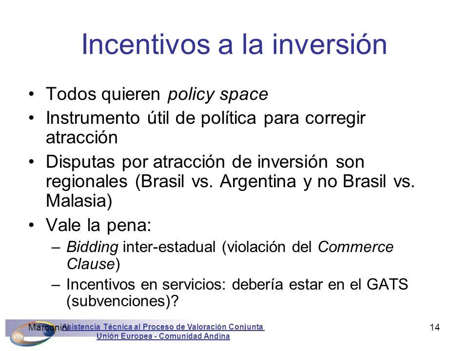 Asistencia Técnica al Proceso de Valoración Conjunta Unión Europea - Comunidad Andina Marconini14 Incentivos a la inversión Todos quieren policy space