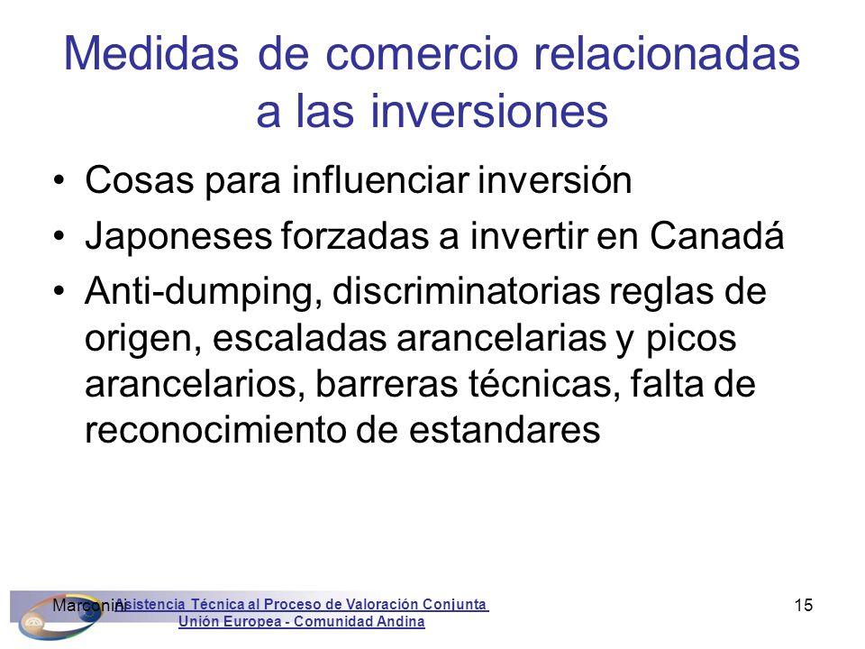 Asistencia Técnica al Proceso de Valoración Conjunta Unión Europea - Comunidad Andina Marconini15 Medidas de comercio relacionadas a las inversiones C
