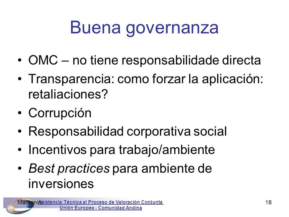 Asistencia Técnica al Proceso de Valoración Conjunta Unión Europea - Comunidad Andina Marconini16 Buena governanza OMC – no tiene responsabilidade dir