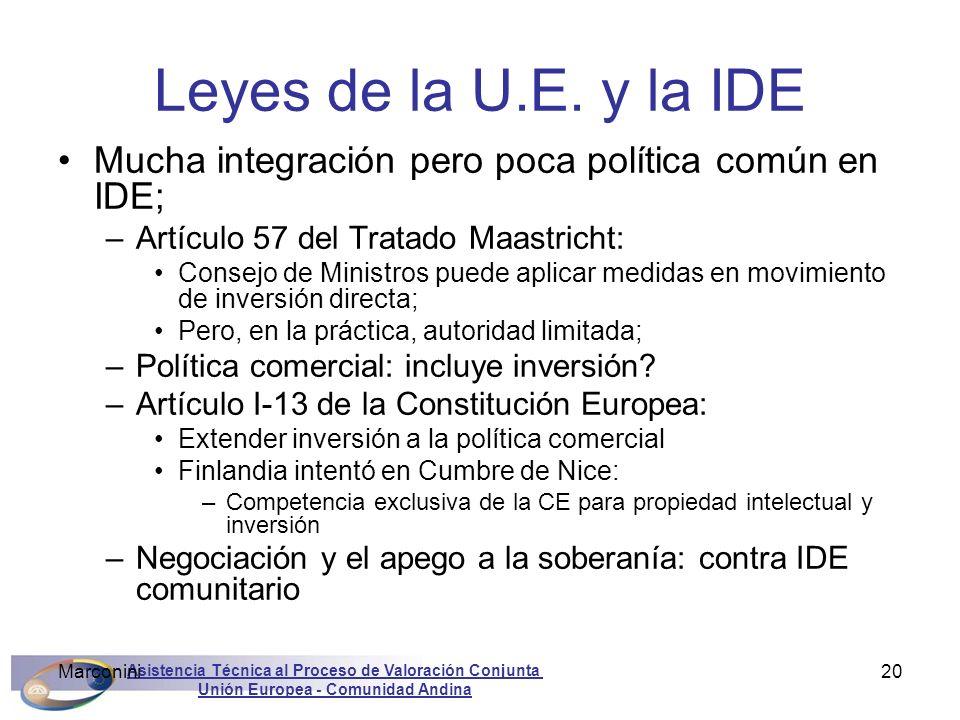 Asistencia Técnica al Proceso de Valoración Conjunta Unión Europea - Comunidad Andina Marconini20 Leyes de la U.E. y la IDE Mucha integración pero poc