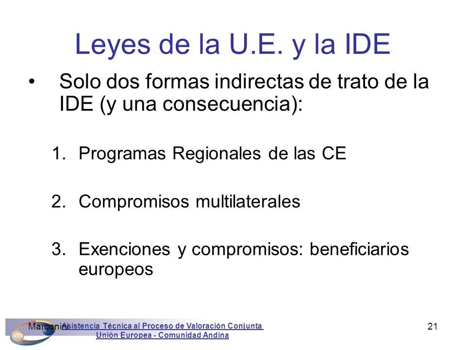 Asistencia Técnica al Proceso de Valoración Conjunta Unión Europea - Comunidad Andina Marconini21 Leyes de la U.E. y la IDE Solo dos formas indirectas