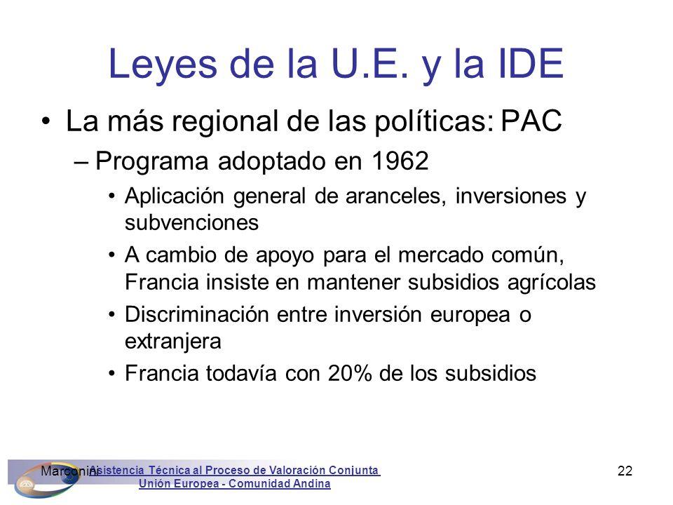Asistencia Técnica al Proceso de Valoración Conjunta Unión Europea - Comunidad Andina Marconini22 Leyes de la U.E. y la IDE La más regional de las pol
