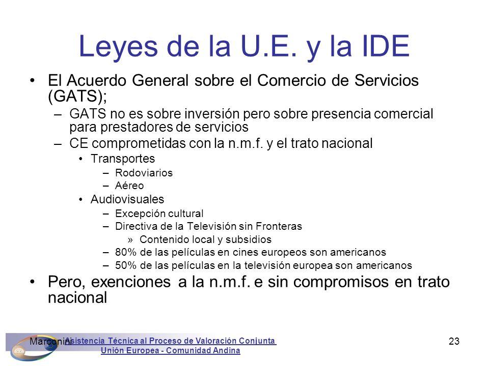 Asistencia Técnica al Proceso de Valoración Conjunta Unión Europea - Comunidad Andina Marconini23 Leyes de la U.E. y la IDE El Acuerdo General sobre e