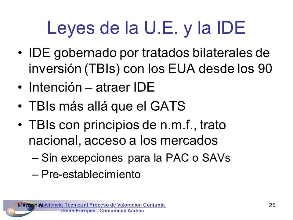 Asistencia Técnica al Proceso de Valoración Conjunta Unión Europea - Comunidad Andina Marconini25 Leyes de la U.E. y la IDE IDE gobernado por tratados