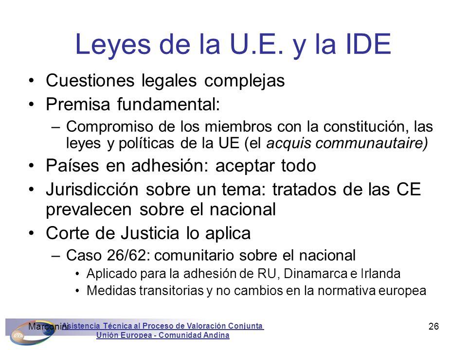 Asistencia Técnica al Proceso de Valoración Conjunta Unión Europea - Comunidad Andina Marconini26 Leyes de la U.E. y la IDE Cuestiones legales complej