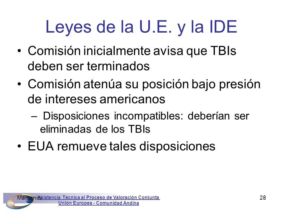Asistencia Técnica al Proceso de Valoración Conjunta Unión Europea - Comunidad Andina Marconini28 Leyes de la U.E. y la IDE Comisión inicialmente avis