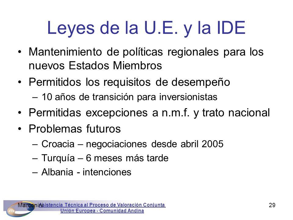 Asistencia Técnica al Proceso de Valoración Conjunta Unión Europea - Comunidad Andina Marconini29 Leyes de la U.E. y la IDE Mantenimiento de políticas