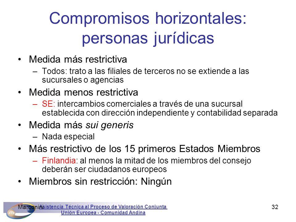 Asistencia Técnica al Proceso de Valoración Conjunta Unión Europea - Comunidad Andina Marconini32 Compromisos horizontales: personas jurídicas Medida