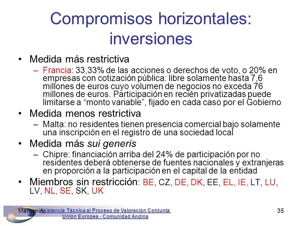 Asistencia Técnica al Proceso de Valoración Conjunta Unión Europea - Comunidad Andina Marconini35 Compromisos horizontales: inversiones Medida más res