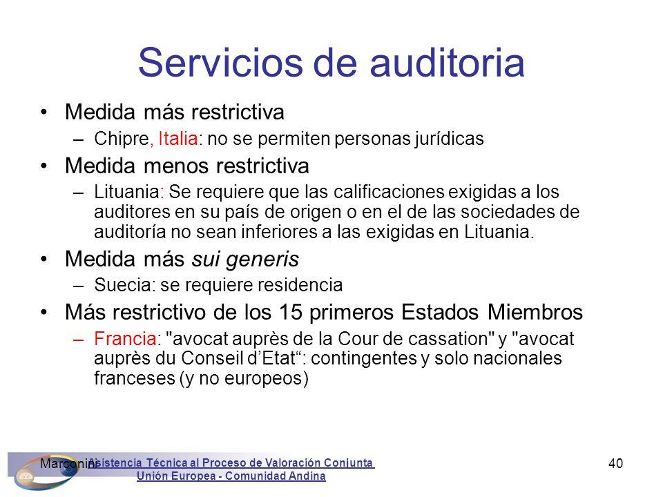 Asistencia Técnica al Proceso de Valoración Conjunta Unión Europea - Comunidad Andina Marconini40 Servicios de auditoria Medida más restrictiva –Chipr